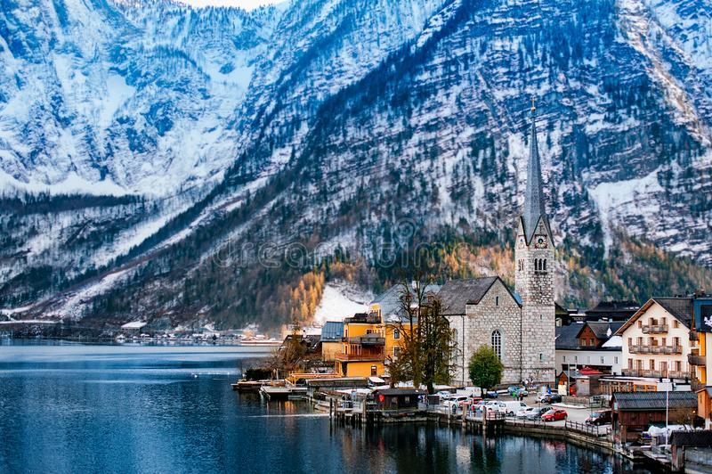 Winter View of Hallstatt, UNESCO world culture heritage site. Alps, Austria royalty free stock image