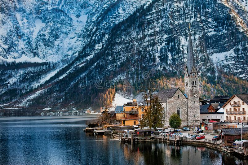 Winter View of Hallstatt, UNESCO world culture heritage site. Alps, Austria stock photo