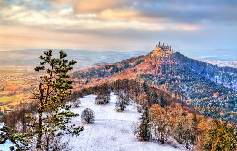 Winter view of Hohenzollern Castle, Germany. Winter view of Hohenzollern Castle in Baden-Wurttemberg, Germany royalty free stock photography