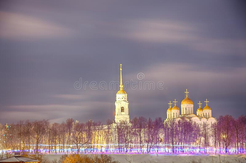 Winter view of the Holy Dormition Cathedral in the city of the Golden ring Vladimir. Winter view of the Holy Dormition Cathedral in the evening in the city of royalty free stock photos
