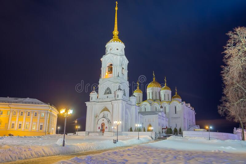 Winter view of the Holy Dormition Cathedral in the city of the Golden ring Vladimir. Winter view of the Holy Dormition Cathedral in the evening in the city of royalty free stock photography