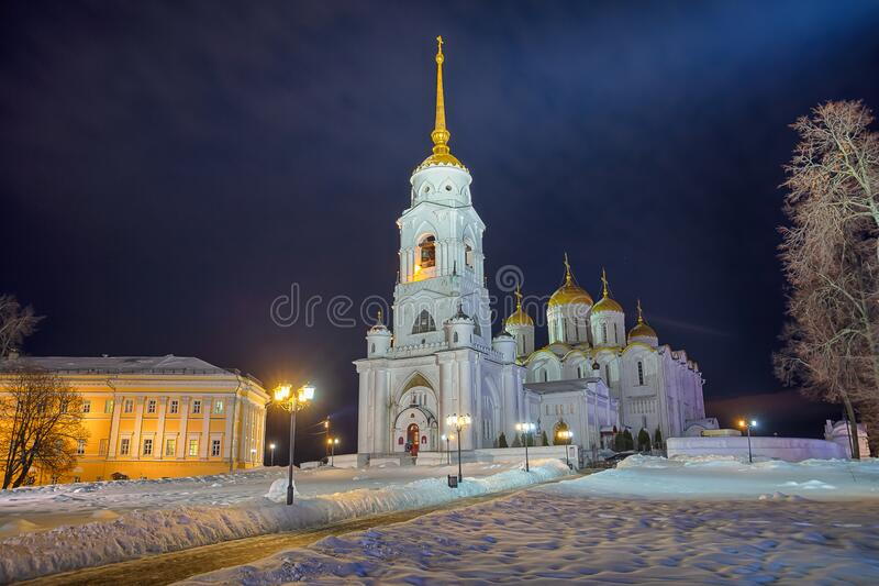 Winter view of the Holy Dormition Cathedral in the city of the Golden ring Vladimir. Winter view of the Holy Dormition Cathedral in the evening in the city of royalty free stock image