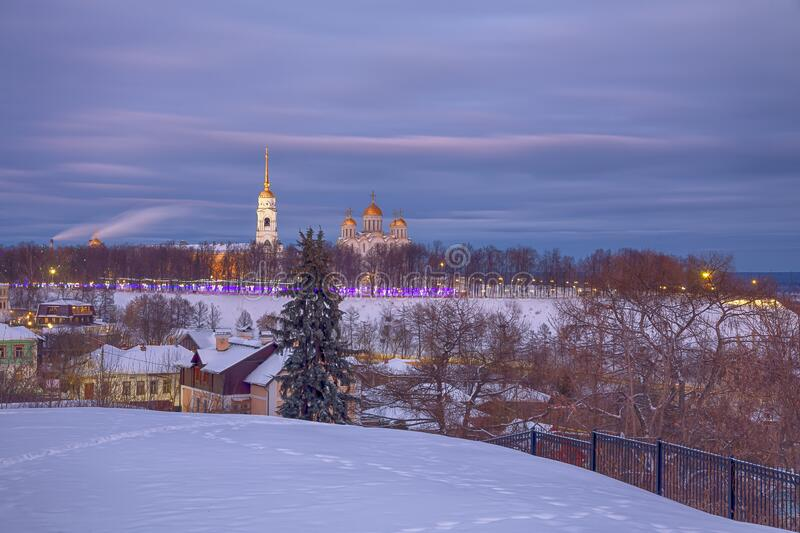 Winter view of the Holy Dormition Cathedral in the city of the Golden ring Vladimir. Winter view of the Holy Dormition Cathedral in the evening in the city of stock images