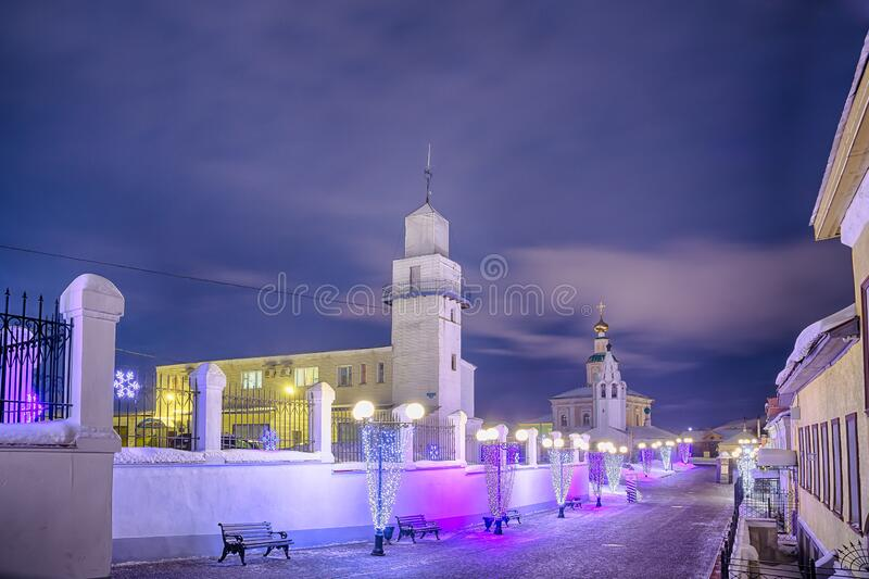 Winter view of the Holy Dormition Cathedral in the city of the Golden ring Vladimir. Winter view of the Holy Dormition Cathedral in the evening in the city of royalty free stock photo