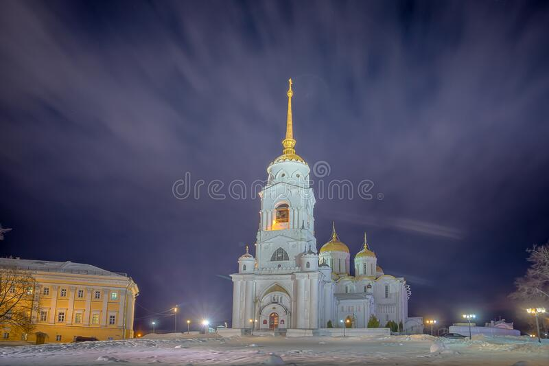 Winter view of the Holy Dormition Cathedral in the city of the Golden ring Vladimir. Winter view of the Holy Dormition Cathedral in the evening in the city of royalty free stock images