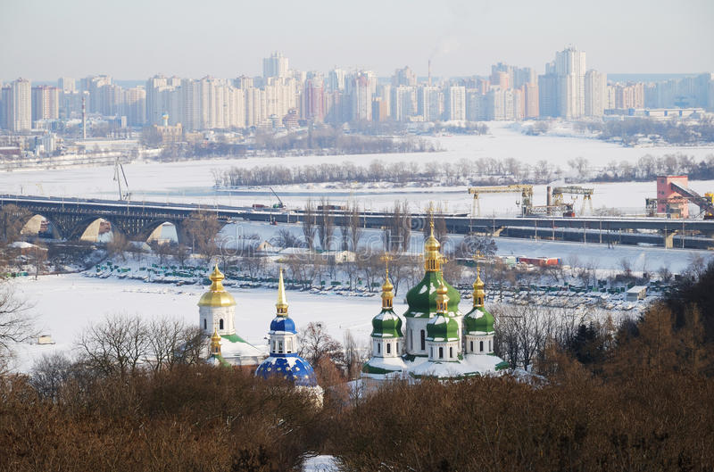 Download Winter view of Kiev stock photo. Image of river, church - 20975588