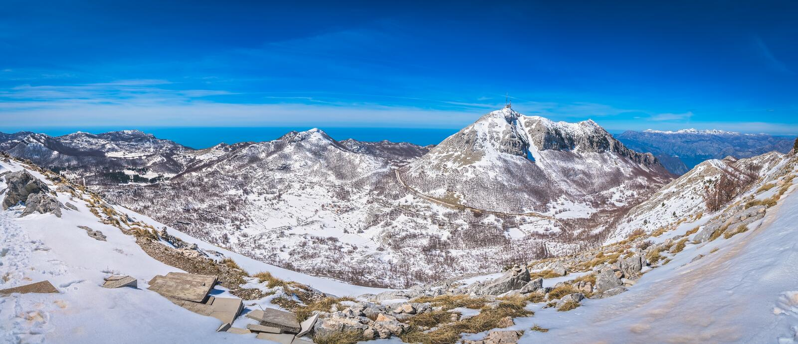 Winter view from Mount Lovcen stock photography