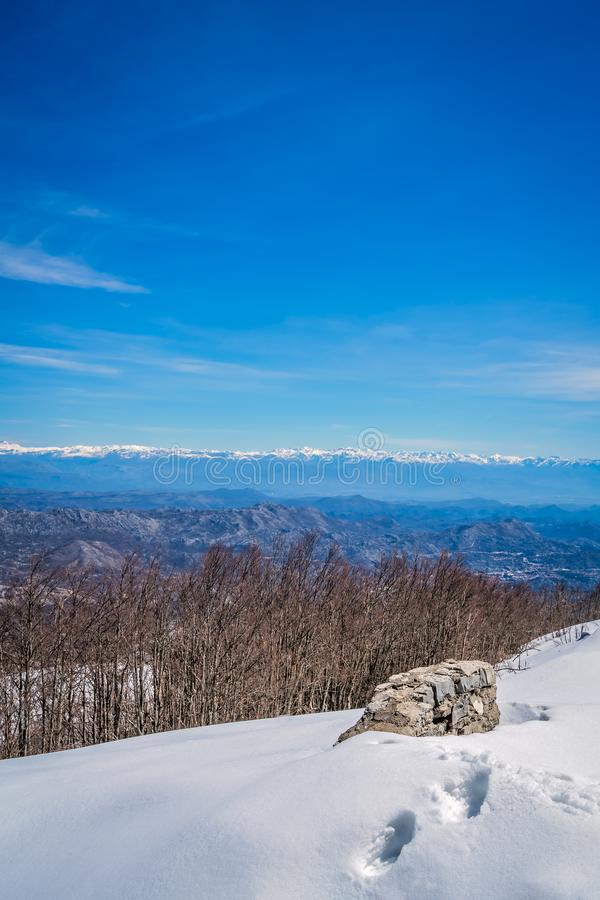Winter view from Mount Lovcen royalty free stock photos