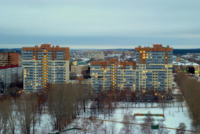 Winter view of a new multi-storey residential building in the central area of the city of Togliatti. The shot was taken from the height of the stock image