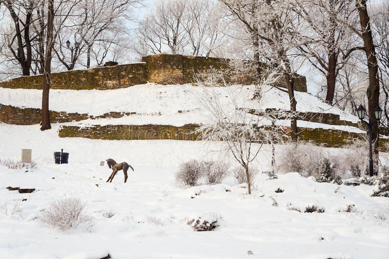 Download Winter View Of Old City Bastion Stock Image - Image of frost, december: 83708209