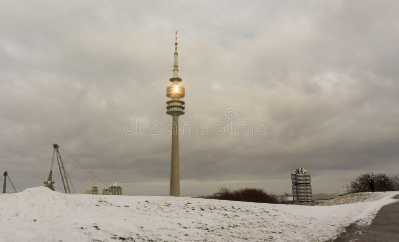 Winter view at Olympiapark Munich Munchen Germany stock photo