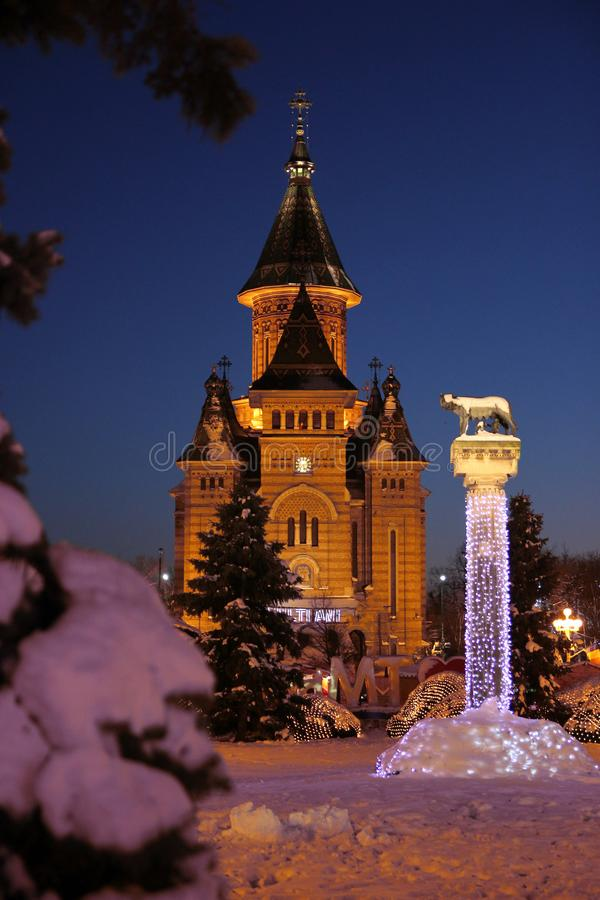 Winter view of the Orthodox Cathedral and Lupa Capitolina statue in front, Timisoara, Romania. Winter view of the Orthodox Cathedral and Lupa Capitolina statue stock photography