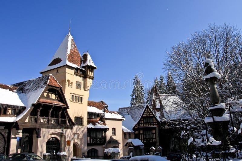 Winter view of Peles Complex, Sinaia, Romania. Peles Castle Complex in winter, Romania royalty free stock image