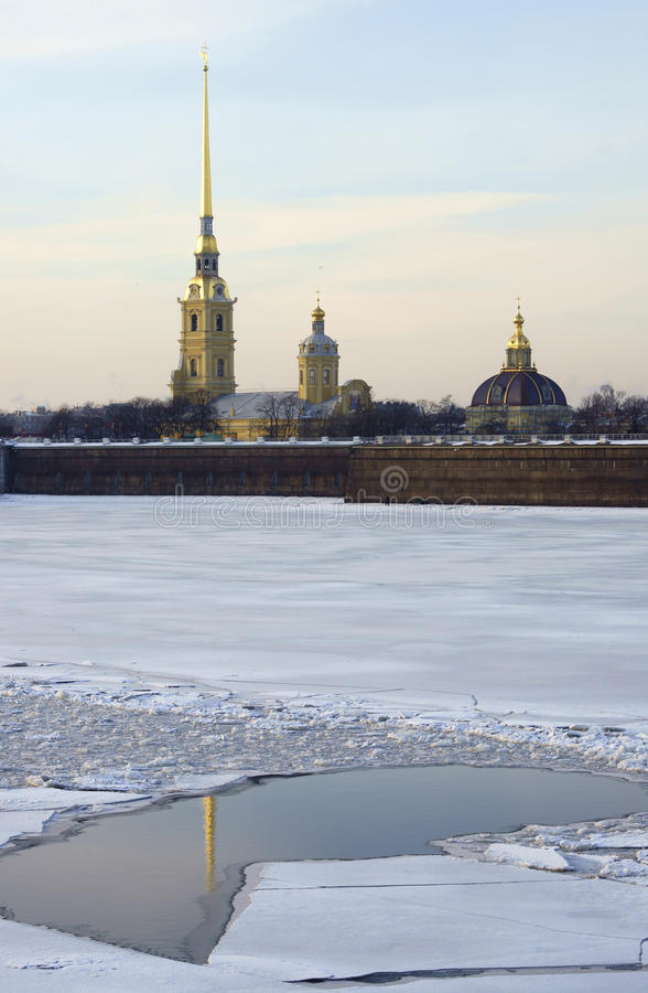 Winter View of the Peter and Paul Fortress royalty free stock photography