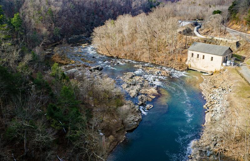 Winter View of the Power Station and Dam on the Roanoke River royalty free stock photos