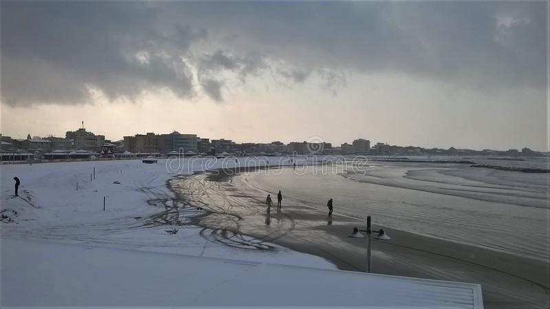 Where Snow and Sea meeting royalty free stock photography