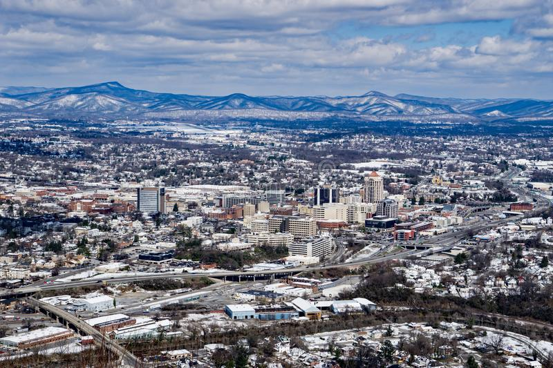 A Winter View of the Roanoke City stock photos