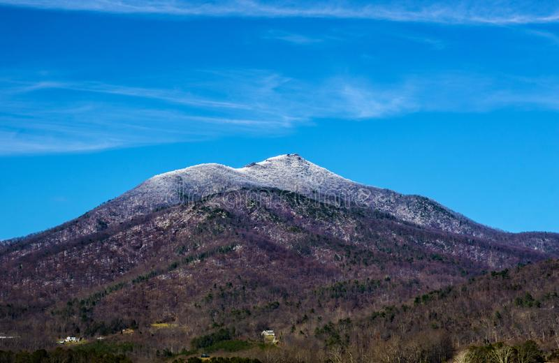 Winter View of Sharp Top Mountain. A winter view of Sharp Top Mountain located in the Blue Ridge Mountains in Bedford County, Virginia, USA stock photo