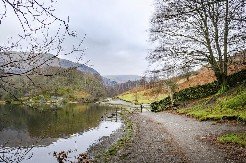A winter view of the shore line of Grasmere Lake. A winter view of the shore line of Grasmere Lake in the Lake District royalty free stock photo