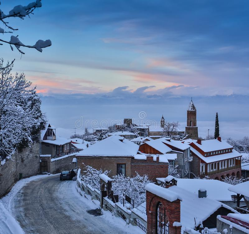 The winter view of Sighnaghi Signagi old town at winter in Kakheti region, Georgia stock images