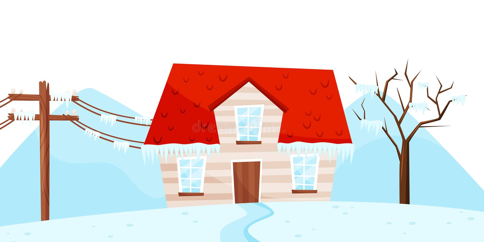 Winter view on small house, tree and electrical power pole. Ice storm. Strong frost. Natural disaster. Flat vector vector illustration