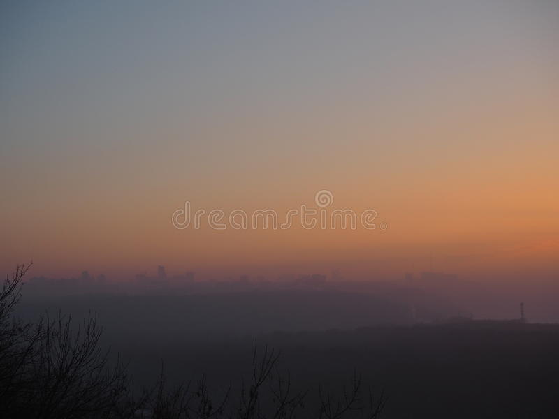 Winter view during sunset stock image