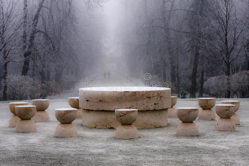 Snow on Table of Silence - masterpiece of Constantin Brancusi. Winter view of Table of Silence - Constantin Brancusi`s masterpieces found in Targu-jiu, Romania stock image