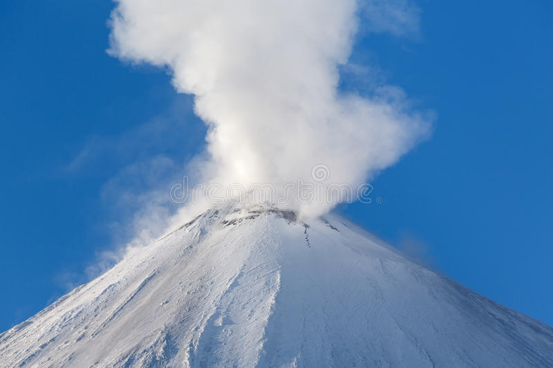 Winter view of top of volcanic eruption. Winter volcanic landscape of Kamchatka: active Klyuchevskaya Sopka (Klyuchevskoy Volcano), view of the top of a volcanic royalty free stock photography