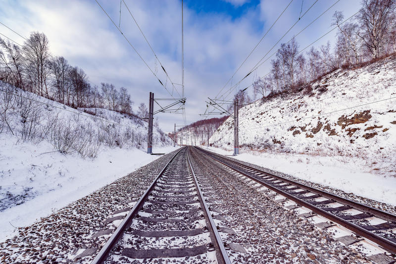 Winter view of Trans Siberian railway. Russia stock image