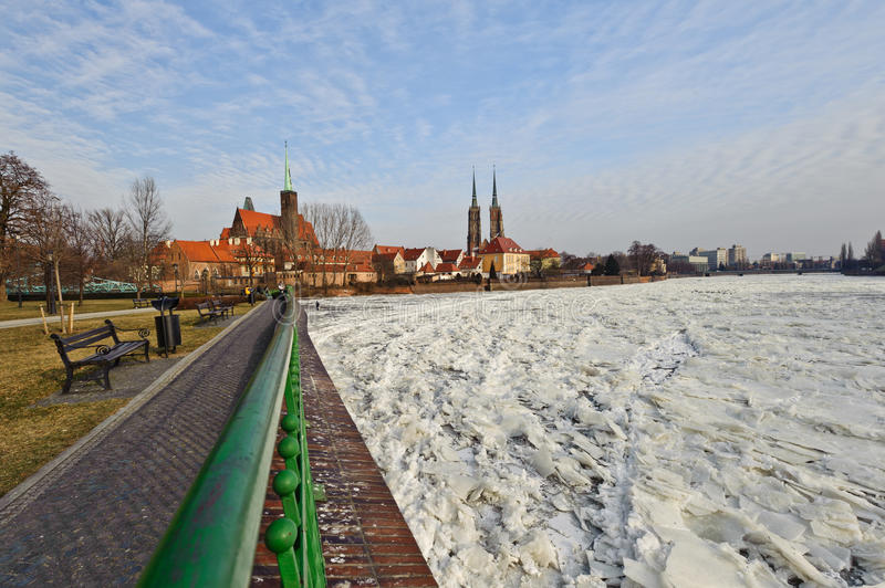 Winter View of Wroclaw royalty free stock photography
