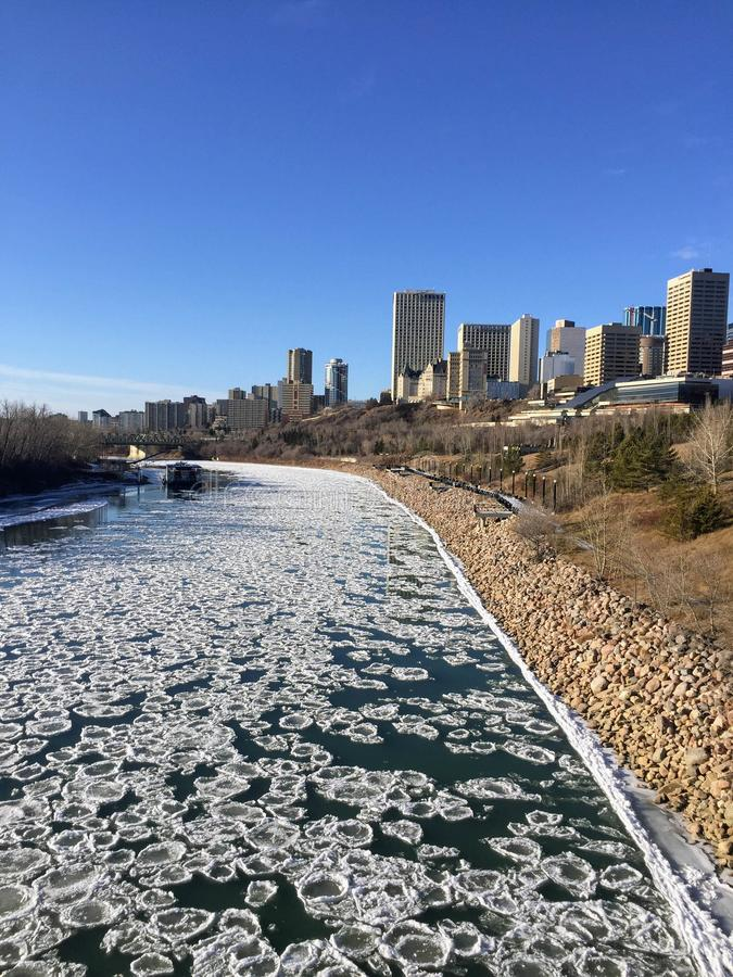 Winter views of Edmonton along the north Saskatchewan river stock images