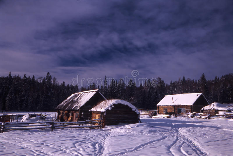 Winter village stock photography