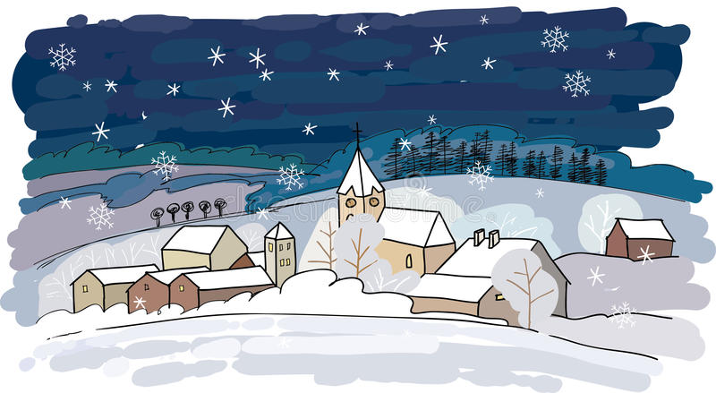 Winter village vector illustration