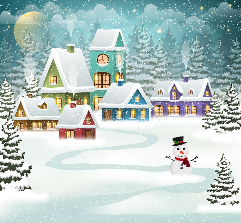 Winter village. Background with snow covered houses, pine forest and snowman vector illustration