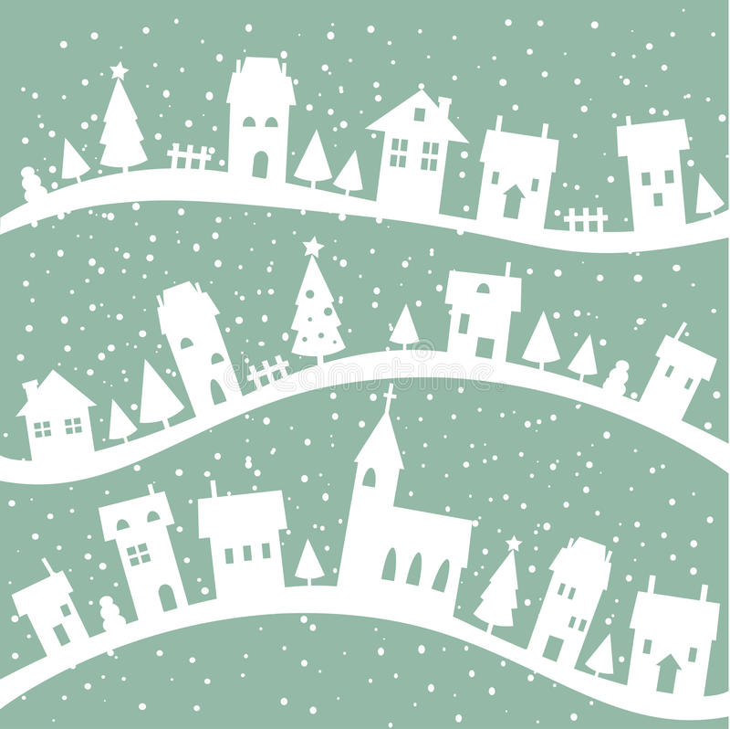 Download Winter Village Christmas Background Stock Vector - Illustration: 16965534