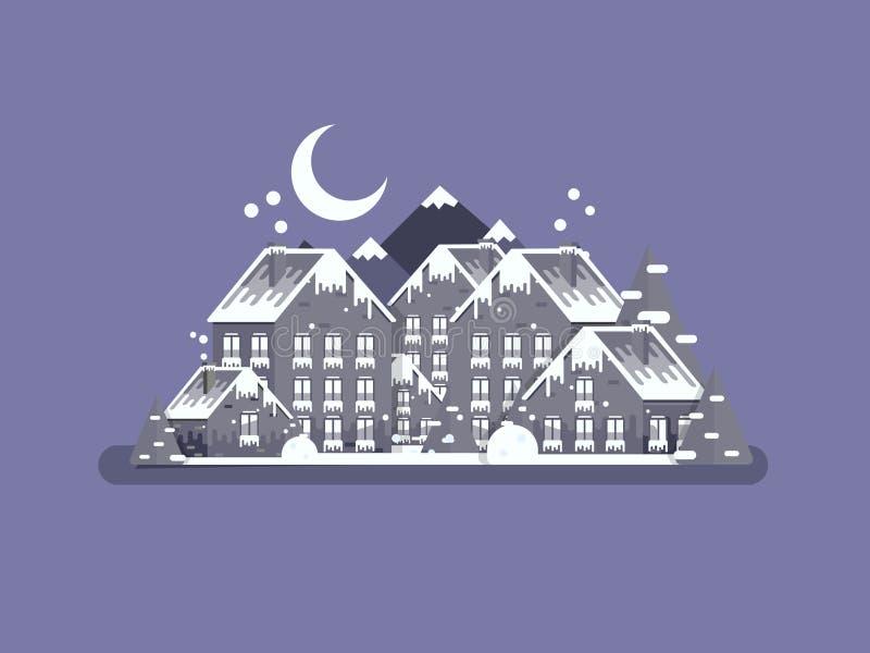 Winter village Christmas landscape night backgroundin flat style royalty free stock images