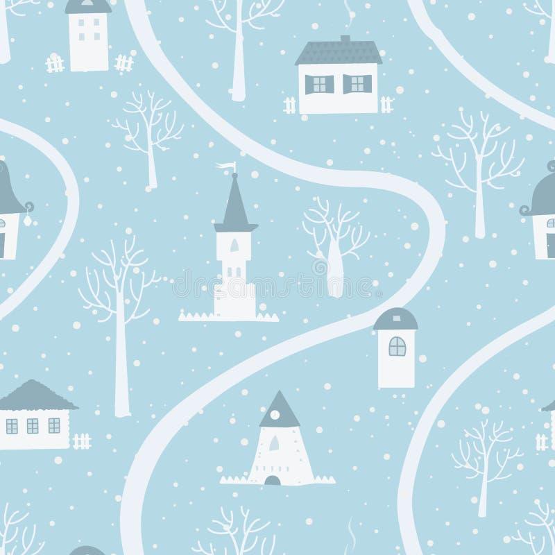 Winter village. Christmas seamless background stock illustration