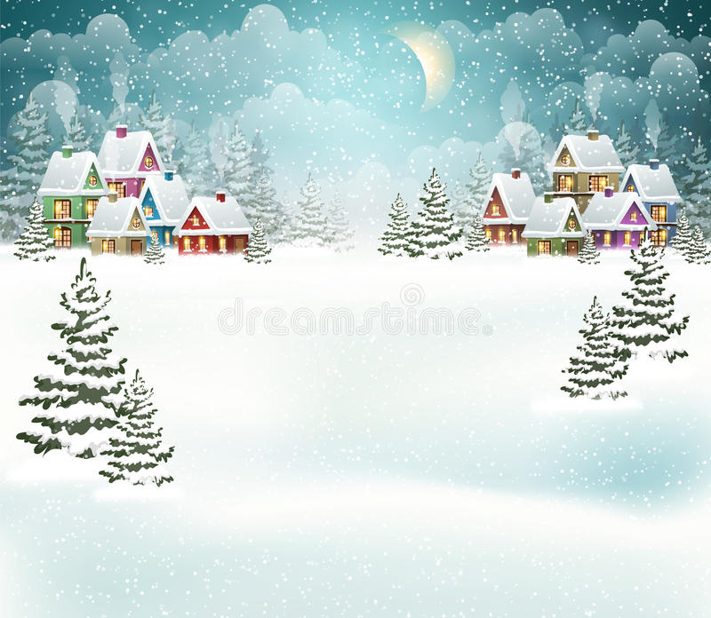 Winter village landscape. Evening winter village landscape with snow covered house. Holidays vector illustration vector illustration