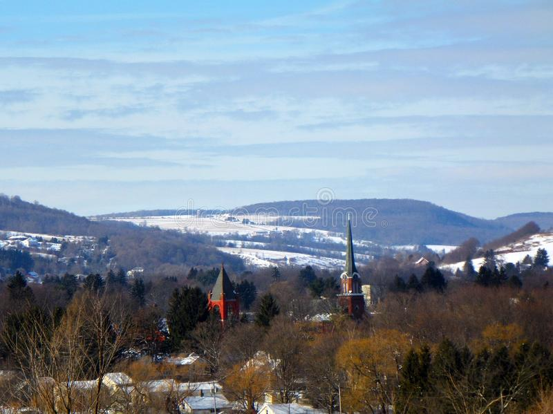 Winter village landscape of Homer New York. Situated in a glacial valley, the old and quaint village of Homer is rich in history, culture and people. The region royalty free stock image