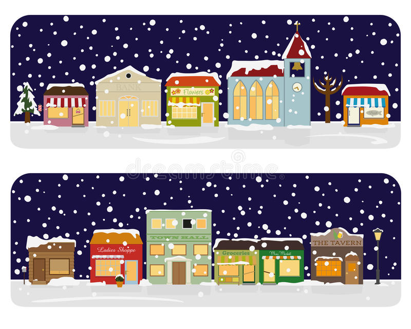 Winter Village Main Street Neighborhood Vector Illustration vector illustration