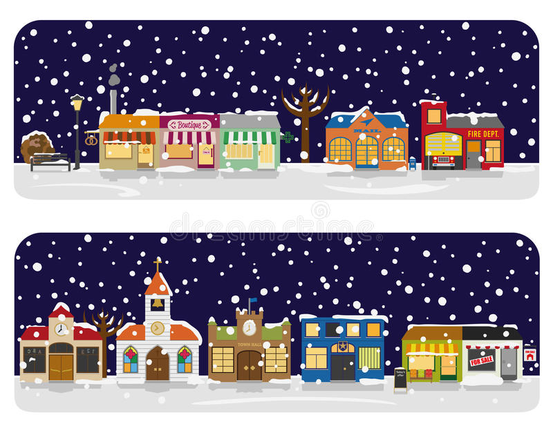 Winter Village Main Street Neighborhood Vector Illustration royalty free illustration