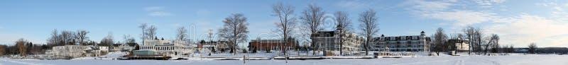 Winter Village Panorama stock photo