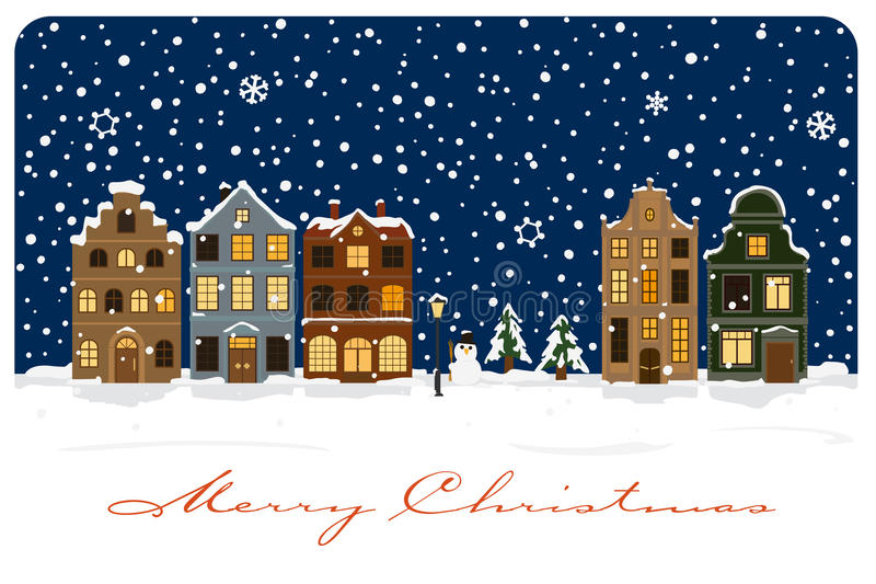 Winter Village Seasonal Greetings Vector Illustration stock illustration