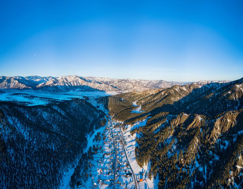 Aerial pano of winter village stock image