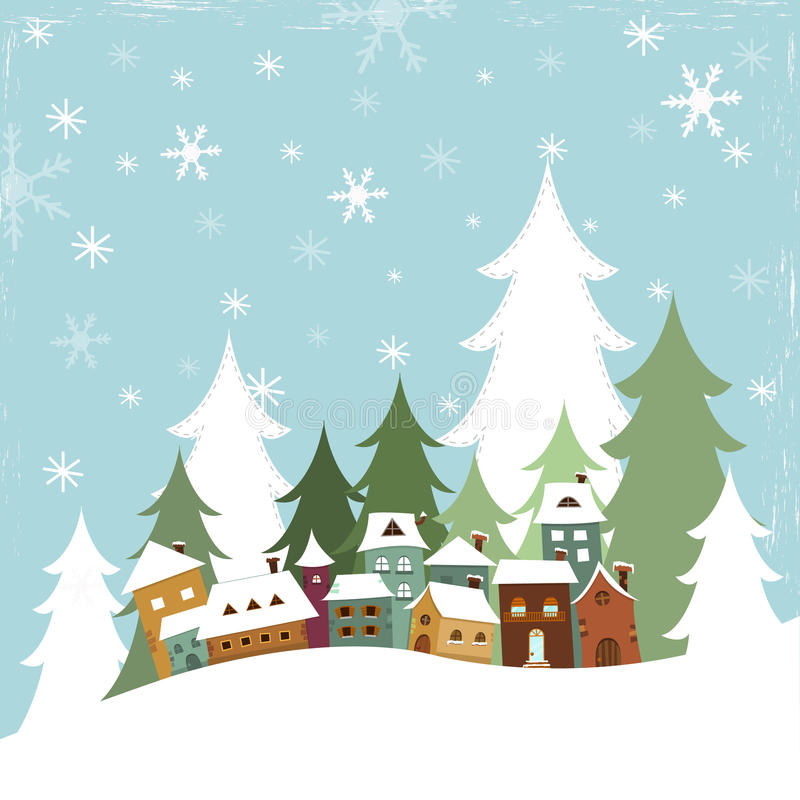 Winter Village. Vector illustration of a winter village scene vector illustration