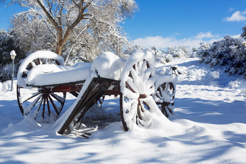 Wooden Wagon Covered With Snow Stock Image Image Of Deep