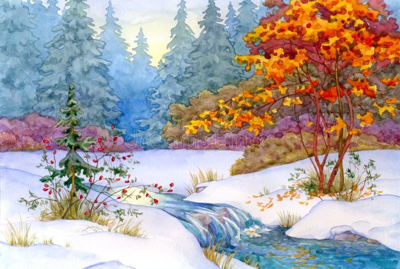 Winter-Wald lizenzfreie abbildung