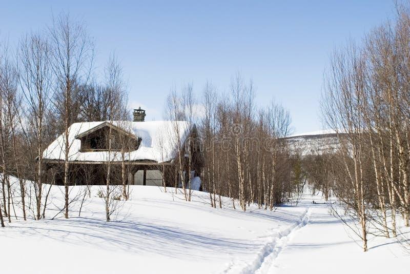 Winter-Waldkabine lizenzfreies stockfoto