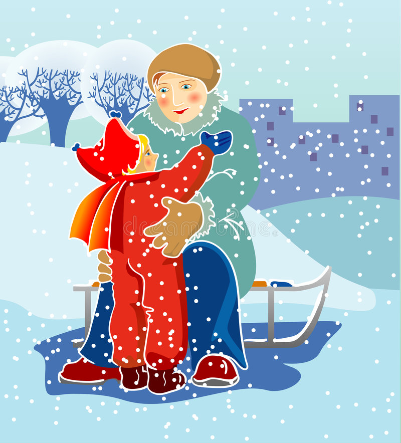 Download Winter walk stock vector. Image of season, snowing, sled - 8126361
