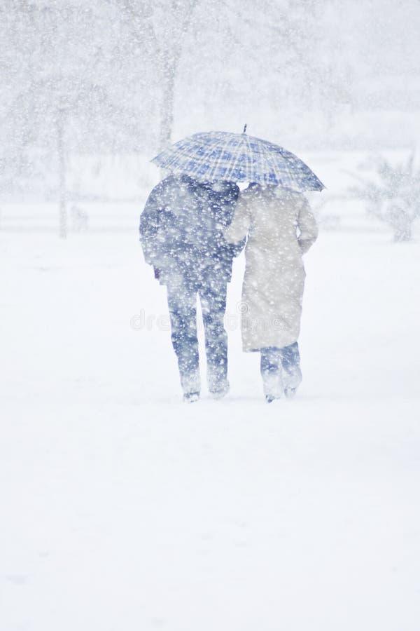 Winter walk. A couple walking in the winter